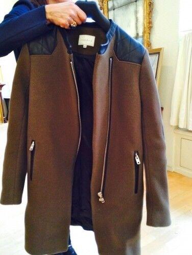 Sandro Wollmantel Mantel Khaki mit Lederdetails Größe 40