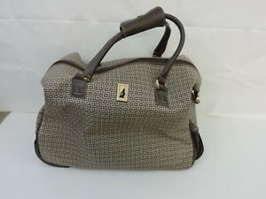 London Fog Oxford Collection Brown Plaid 15 Under The Seat Bag Ebay