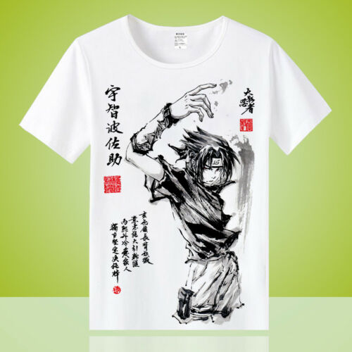 Anime Uchiha Sasuke Cosplay Unisex Otaku Casual T-shirt Tops Tee Short Sleeve