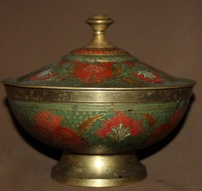 Vintage Ornate Floral Brass Lidded Bowl Easy To Lubricate Decorative Collectibles Bowls