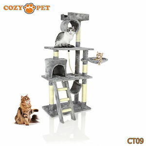 Cozy Pet Deluxe Cat Tree Sisal Scratching Post Quality Cat Trees - CT09-Grey 887074005045