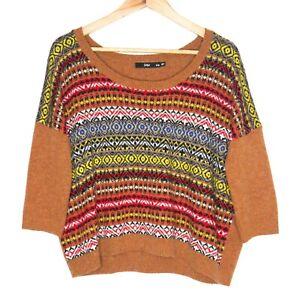 Sportsgirl Womens Multicoloured 3/4 Sleeve Knit Jumper Sweater Size S/M