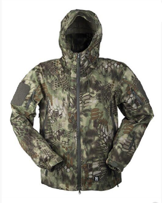Hardshell windblocker chaqueta Snake camo mandra Wood camuflaje L large