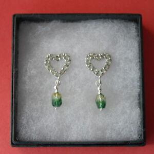 Romantic Green Amethyst & Green Agate Silver Earrings 2.9 Gr. 3 Cm. Long  In Box