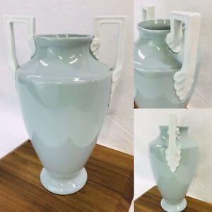 Vtg-Neoclassical-Art-Deco-Porcelain-Pottery-Vase-Urn-Greek-Blue-Green-12-039-039-HAVE2
