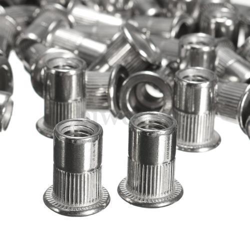 50pcs M6 Thread 304 Stainless Steel Flat Head Rivet Nut Rivnut Insert Nutsert