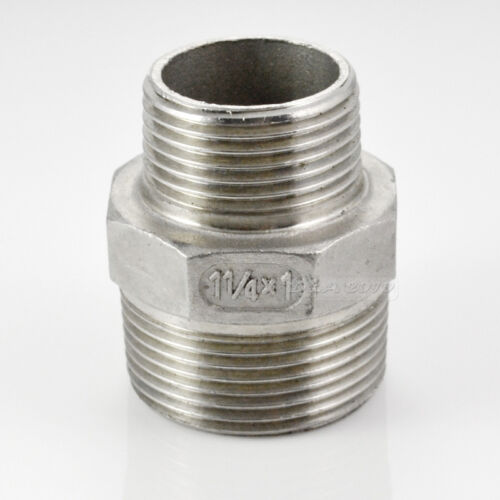 """1-1//4/""""x1/"""" Male Hex Nipple Threaded Reducer Pipe Fitting Stainless Steel 304 BSPT"""