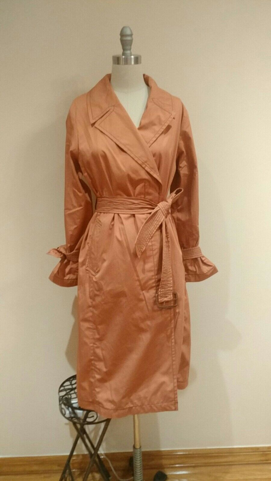 Cole Haan Drapey Belted Trench Coat Womans Raincoat , Size 8, New