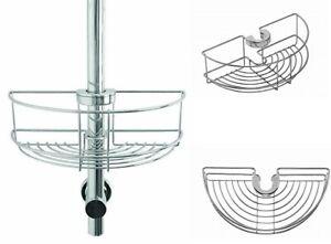 5 Year Rust Free Croydex Chrome Shower Riser Rail Hook Over Caddy Basket