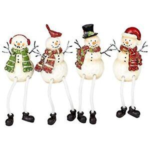 Glitter Striped Snowman 4 x 3 Resin Stone Christmas Shelf Sitter Figurines Set/4