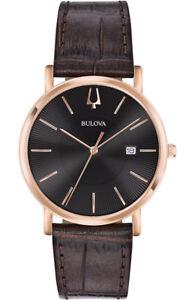 Bulova-Men-039-s-Quartz-Black-Dial-Rose-Gold-Case-Leather-Band-37mm-Watch-97B165