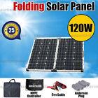 12V 120W Folding Solar Panel Kit Power Battery Caravan Boat Camping