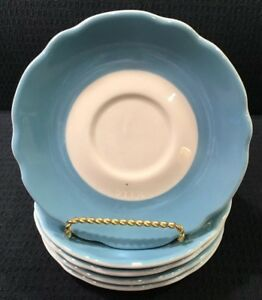 Jackson-China-Set-Of-5-Blue-And-White-Scalloped-Restaurant-Ware-Saucers-USA