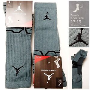 Nike Air Jordan Jumpman Advance Dri-Fit Teal/Black Crew Socks, Men's Size 12-15