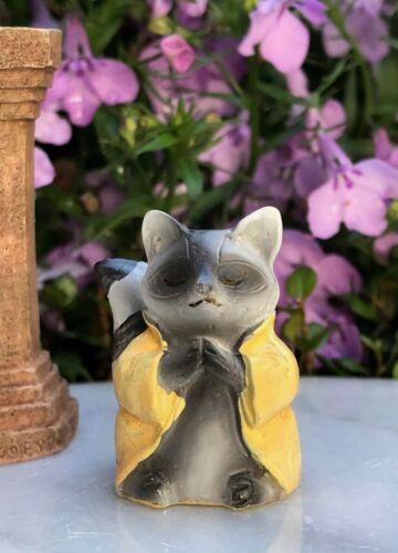 "Miniature FAIRY GARDEN ~ Tiny 1¼/"" ZEN Buddha Animal Anjali Mudra RACCOON"