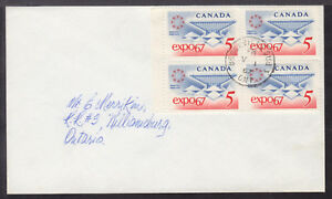 CANADA-469-5c-BLOCK-4-on-1967-EXPO-039-67-FDC