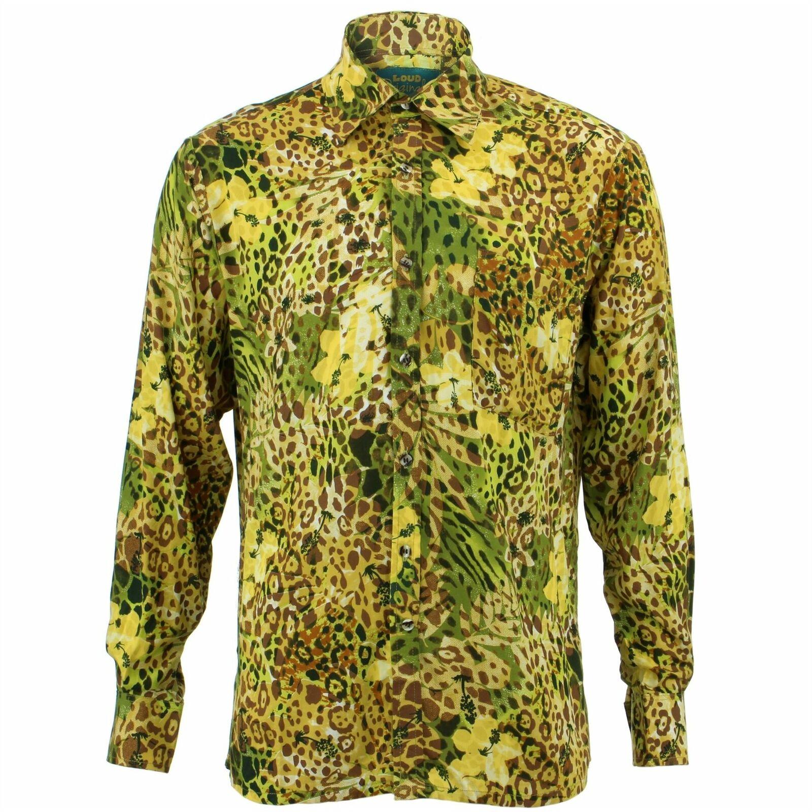 Mens Shirt Loud Originals REGULAR FIT Animal Green Retro Psychedelic Fancy