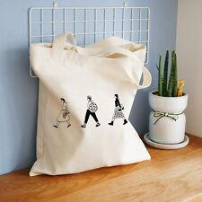 Women Cloth Bag Canvas Shoulder Bags Handbags Reusable Big Shopping Bags White