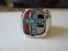 Mens Paraiba Topaz Stainless Steel Cross Ring (Size 10) TGW 0.50 cts.