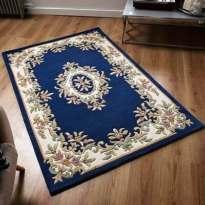 Indian Aubusson Blue Wool Pile Traditional Rugs 160x235cm Chinese Design Ebay