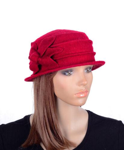M495 Red Women/'s Cute Flower Wool Acrylic Winter Beanie Hat Cloche Dress Cap