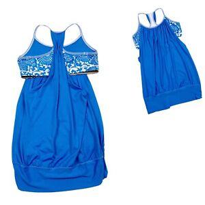 Lululemon-No-Limits-Tank-Beaming-Blue-Floral-Size-8-Shelf-Bra-Gym-Tank-Top