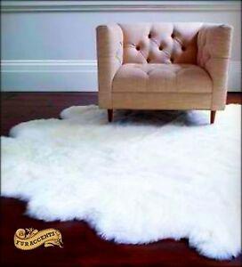 Shag Rug Faux Fur Sheepskin White Nursery Living Room Den