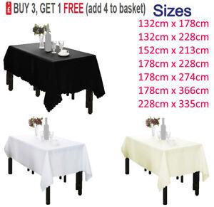 Rectangle-Polyester-Nappe-De-Table-Housse-en-Tissu-Mariage-Fete-Picnics-vaisselle
