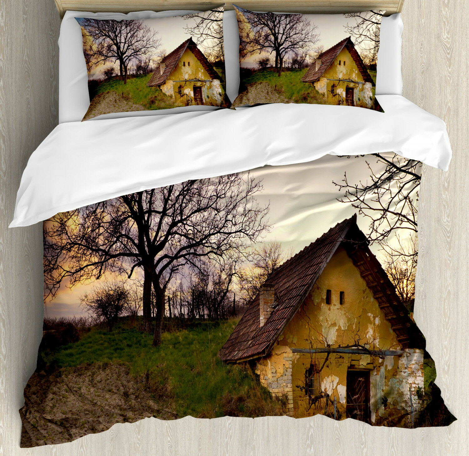 Rustic Duvet Cover Set with Pillow Shams Batterosso Stone House Print