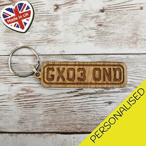 Personalised Number Plate Wooden Keyrings Engraved Letters Number Car Gift
