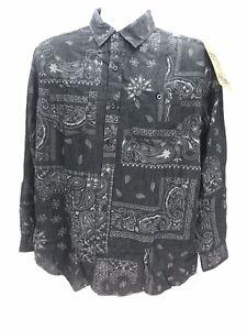 Akademiks Jeanius Black Paisley Long Sleeve Button Up Shirt Mens Small Regular