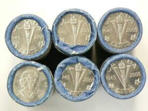1945-2005-Canada-5-Cents-Lot-of-6-Original-Rolls
