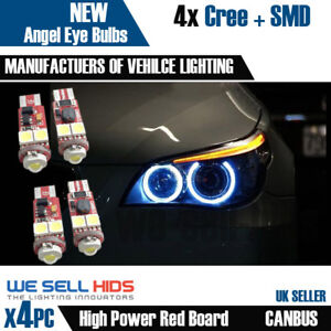 4X-BMW-E60-XENON-WHITE-ANGEL-EYE-LED-CANBUS-BULBS-5-series-E61-pre-LCI-Rings