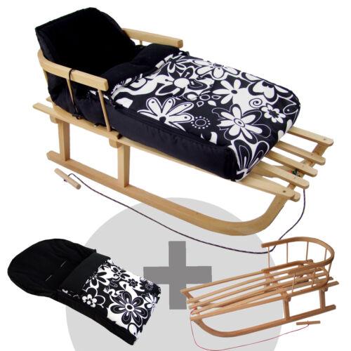 KOMBI-ANGEBOT Holzschlitten mit Rückenlehne + Winterfußsack (90cm) sw große BL