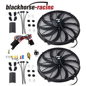 BLACKHORSE-RACING 12 Universal Electric Radiator Cooling Fans Thermostat Relay /& Mount Kit