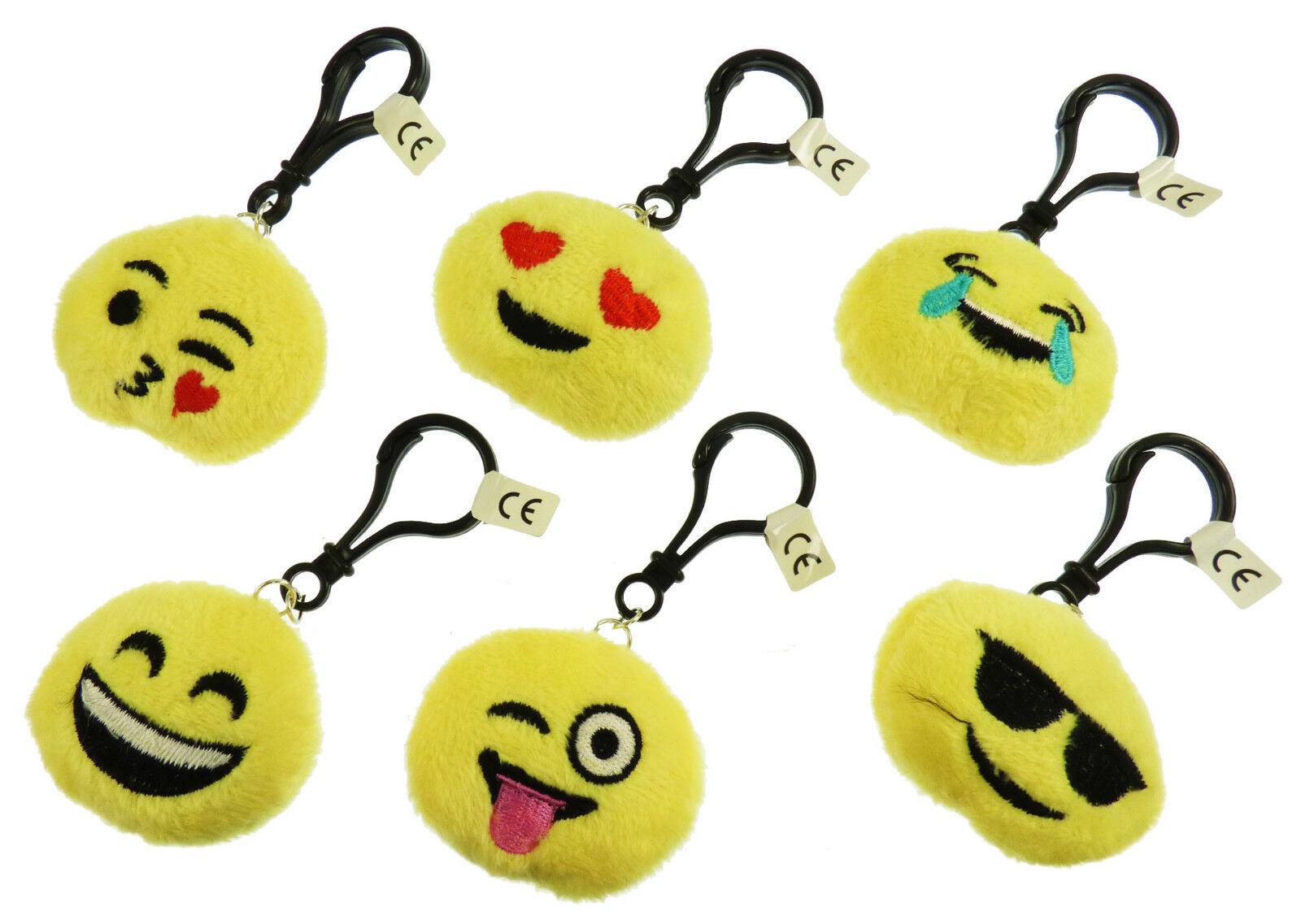 100 NEW Wholesale 5cm Plush Pillow Pillow Pillow Emoticon Emoji Clip On Keyrings - 6 designs a7c03e