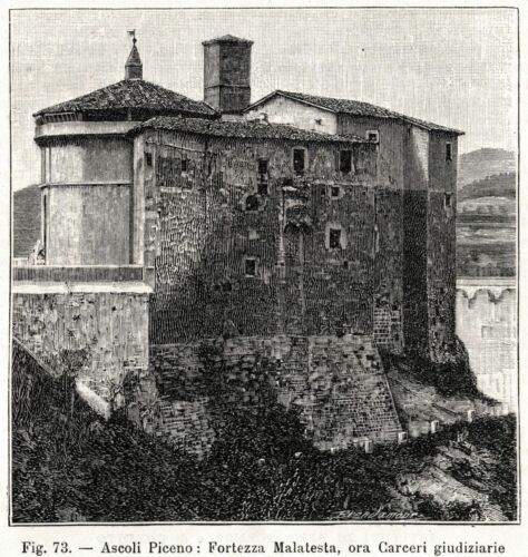 Passepartout Ascoli Piceno: Forte Malatesta Stampa Antica 1898 Marche