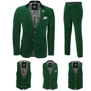 vintage Pantalone venduto 3 separatamente velluto pezzo giacca giacca uomo vestito verde xPrqHICP