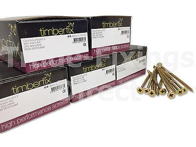TIMBERFIX 360 PREMIUM CUTTER THREAD GOLD WOOD SCREWS CSK POZI DRIVE 9g 4.5mm