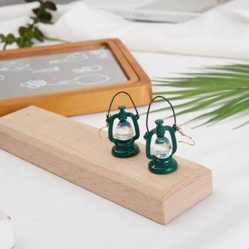 Funny Vintage Lantern Lamp Drop Earrings Dark Green Chandelier Dangle Earring