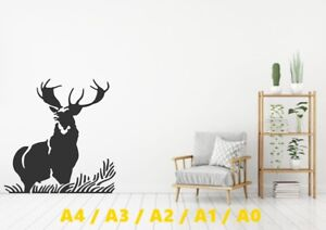 Beautiful-Stag-In-Wild-Silhouette-Stencil-A4-A3-A2-A1-A0-350-micron-STAG026