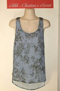 EYESHADOW-Blue-Floral-Antique-Pewter-Beaded-Racer-Back-Blouse-Top-Sz-L-VG-XLNT