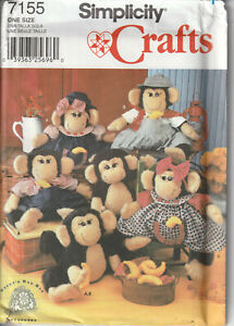 Simplicity-7155-Stuffed-Monkey-And-Clothes-Sewing-Crafts-Pattern-Soft-Doll