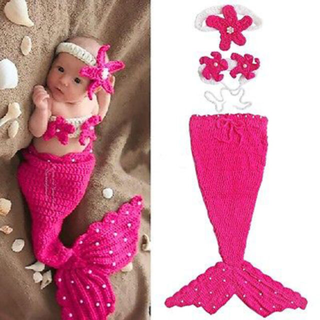 Infant Baby Girl Newborn Mermaid Crochet Outfit Dress Photo Props Hat Cos Prof