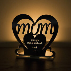 Personalised-Tea-Light-Heart-Candle-Holder-For-MUM-Birthday-Mother-039-s-Day-Gift