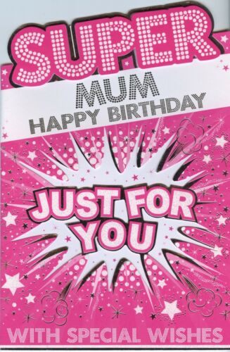 LARGER CUTE TRADITIONAL SPECIAL MUM BIRTHDAY CARD 4 DESIGNS 1STP/&P