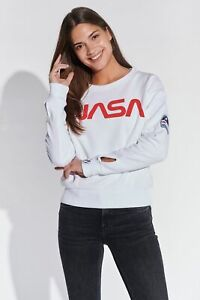 Course-Damen-Sweatshirt-Pullover-Kurz-Cropped-NASA-Print-Logo-Badges-Baumwolle