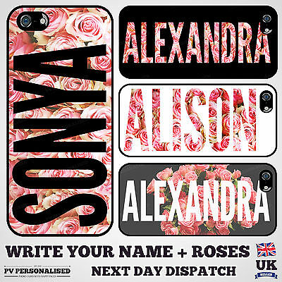 Personalised floral YOUR NAME CASE with pink roses for Apple iPhone 7 & 7 Plus