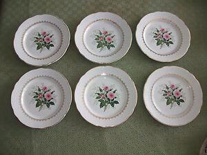 6-Anciennes-assiettes-plates-decor-034-roses-034-KG-Luneville-lot-2