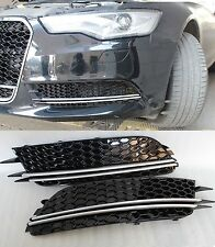 Gloss Black RS6 RS HONEY-COM STYLE FRONT GRILLE GRILL FOR AUDI A6 S6 4g #26
